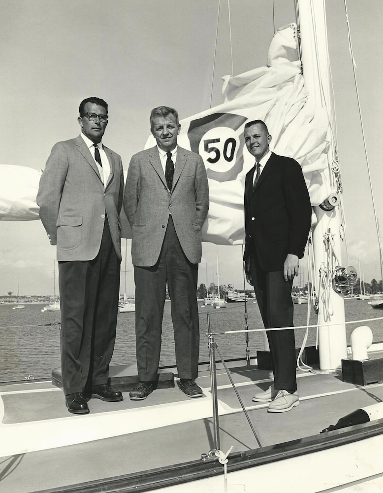 Richard Valdes (Columbia Yachts Founder), John Eddy (Sales Manager) and Bill Tripp (Designer)
